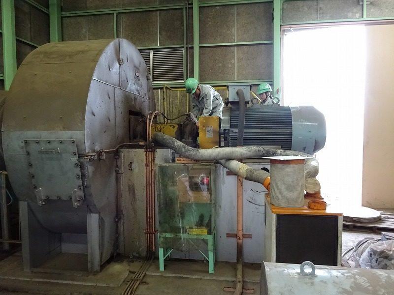 集塵機の軸受け交換時のインペラーのバランス調整