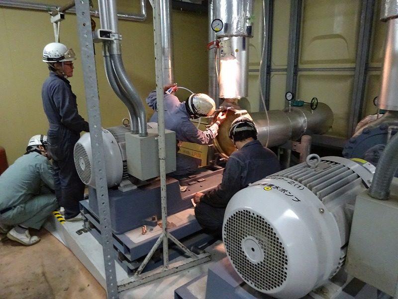 冷却水用ポンプのメンテナンス