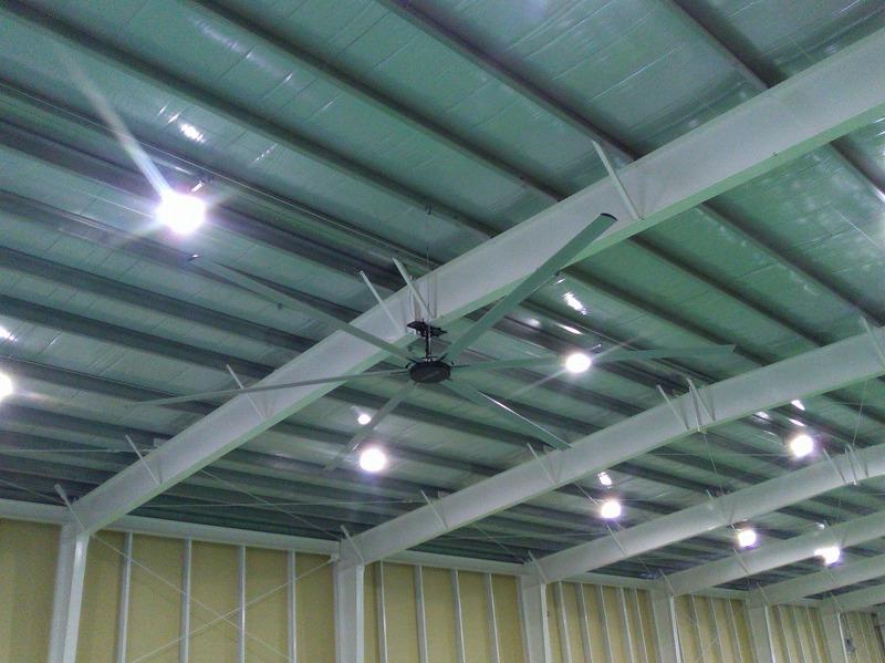 大型シーリングファンの設置工事